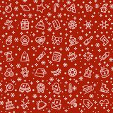 Christmas vector seamless pattern with xmas holiday outline icons. Xmas background and christmas seamless pattern illustration Royalty Free Stock Photo