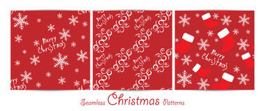 Christmas vector seamless patterns. Seamless Christmas vector patterns set for wallpaper, wrapping, patterns, greetings, Christmas and New Year cards. Eps10 Stock Photo