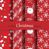 Christmas vector seamless patterns. Seamless Christmas vector patterns set for wallpaper, wrapping, patterns, greetings, Christmas and New Year cards. Eps10 Stock Photos