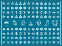 Christmas Vector Set. Christmas Themes; snowflakes and christmas icon; new year; winter Vector Set; shape Royalty Free Stock Photos