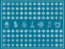 Christmas Vector Set. Christmas Themes; snowflakes and christmas icon; new year; winter Vector Set; shape Stock Photos