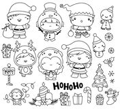 Christmas Vector Set in Black and white outline Royalty Free Stock Photography