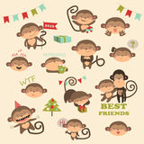 Christmas vector set with monkey for 2016 New Year. Vector set with monkey for 2016 New Year royalty free illustration
