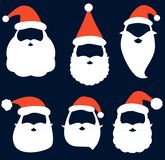 Christmas vector set with Santa hats, beard and mustaches vector illustration