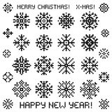 Christmas vector snowflakes designs in pixel style. Royalty Free Stock Photos