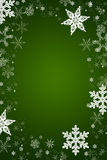 Christmas vector snowflakes in a green background Royalty Free Stock Photography