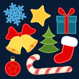 Christmas vector stickers. Christmas stickers with stitching imitation Royalty Free Stock Photos