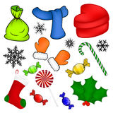 Christmas vector symbol set, icon  design. Winter illustration isolated on white background. Royalty Free Stock Images
