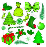 Christmas vector symbol set, icon  design. Winter illustration  on white background. Stock Photography