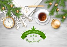 Christmas Vector Top View Background. With a clock, fir twigs, Christmas balls on wooden table Royalty Free Stock Photos