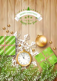 Christmas Vector Top View Background. With a clock, fir twigs, gifts, Christmas balls on wooden table Royalty Free Stock Image