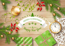 Christmas Vector Top View Background. With a clock, fir twigs, gifts, Christmas balls on wooden table Stock Images