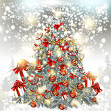 Christmas Vector Tree On A Silver Glitter Particles Background Royalty Free Stock Photos