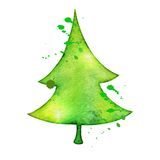 Christmas vector tree in watercolor trending style. Christmas tree in watercolor trending style, isolated on white background, vector cute illustration Royalty Free Stock Image