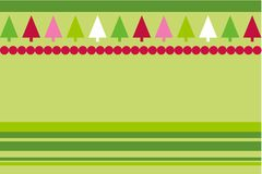 Christmas vector trees. Christmas trees design with simplistic retro shapes on stripes and dots pattern in Vector format Stock Photos