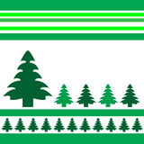 Christmas vector trees. Christmas trees design with simplistic retro shapes on stripes in Vector format Stock Photo