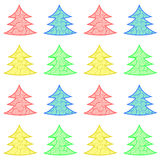 Christmas vector trees in four colors. Four christmas trees pattern stock illustration