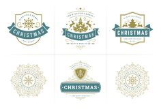 Free Christmas Vector Typography Ornate Labels And Badges, Happy New Year And Winter Holidays Wishes For Vector Illustration Stock Photos - 196389803