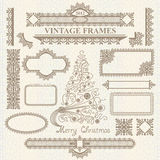 Christmas vector vintage elements set. Stock Image