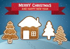 Christmas vector wish card Stock Images
