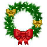Christmas vector wreath from needles with white space Royalty Free Stock Photography