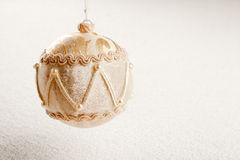 Christmas velvet bauble luxury style on snow Stock Photos