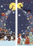 Christmas vertical banner set.Santa Claus coming Royalty Free Stock Photos