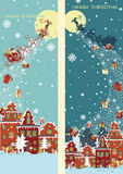 Christmas vertical banner set.Santa Claus coming Stock Image