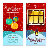 Christmas Vertical Banners. With christmas decorations snowfall and happy new year invitation text flat vector illustration Royalty Free Stock Image