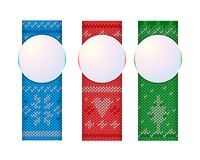 Christmas vertical banners knitted ornament. Vector Design Templates Royalty Free Stock Image