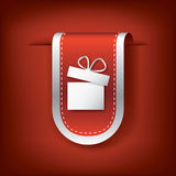 Christmas vertical bookmarks or ribbons with. Symbol of present on red background. Eps10 vector illustration Royalty Free Stock Photography