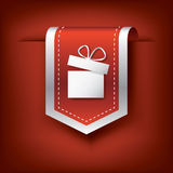 Christmas vertical bookmarks or ribbons with. Symbol of present on red background. Eps10 vector illustration Royalty Free Stock Images