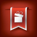 Christmas vertical bookmarks or ribbons with. Symbol of present on red background. Eps10 vector illustration Stock Photos