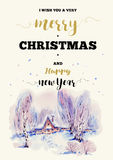 Christmas vertical frame vector card with winter landscape greet Royalty Free Stock Image