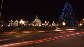 Christmas in Victoria BC. Street view of BC Parliament building at Christmas time, Victoria, BC, Canada Royalty Free Stock Photo