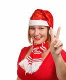 Christmas victory sign Stock Photos