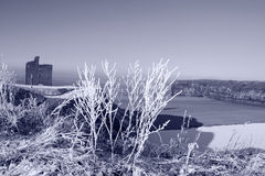Christmas view of ballybunion castle beach in snow Stock Image