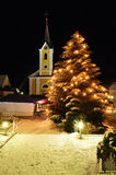 Christmas in the Village. Christmas Scene in an Austrian Village Stock Photo