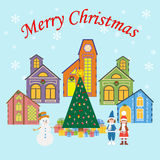 Christmas Village. On the blue background. Snow, christmas tree, children. Vector illustration Royalty Free Stock Images