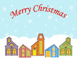 Christmas Village. On the blue background. Snow. Vector illustration Royalty Free Stock Images