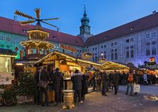 Christmas Village at the Munich Residenz in twilight, Germany royalty free stock photo