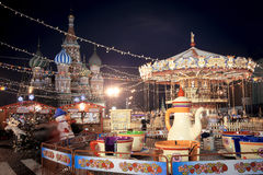 Christmas village fair on Red Square in Moscow Stock Photography