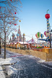 Christmas village fair on Red Square in Moscow Royalty Free Stock Images