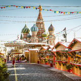 Christmas village fair on Red Square in Moscow, Russia Royalty Free Stock Photography