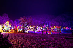 Christmas village in the forrest valley Stock Photo
