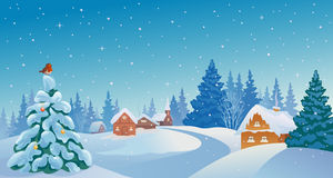 Christmas village. Illustration of a beautiful winter morning village Stock Images