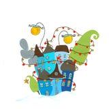 Christmas village. Illustration. Figure acrylic paints on a white background. Handmade Stock Photo