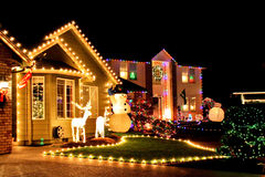 Christmas village lights Stock Photo