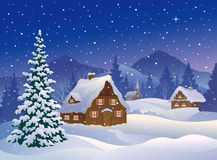 Christmas village at mountains. Illustration of a snowy winter night village at mountain woods Stock Photos