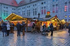 Christmas Village at the Munich Residenz in evening, Germany royalty free stock photo